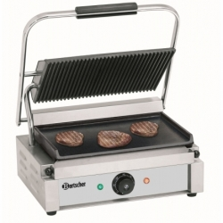 Grill contact Panini, plaque superieur rainuree inferieure lisse