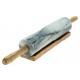 Rouleau à pâtisserie marbre/bois et support bois