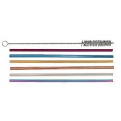 6 Pailles inox multicolores et un goupillon