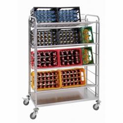 Chariot transport de caisses de boissons avec 4 clayettes grillagees
