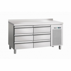 Table refrigeree, froid ventile, 6SL, avec releve